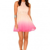 Missguided - Damitta Floral Lace Ombre Skater Dress In Pink