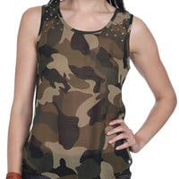 Studded Camouflage Tank | Shop Just Arrived at Wet Seal