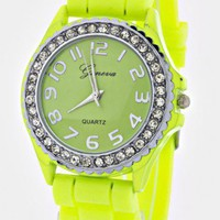 LIME JELLY CRYSTALS WATCH