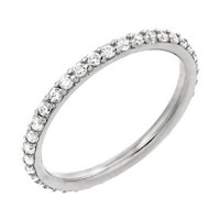 Sterling Silver Rhodium Plated Round Cz 2mm Eternity Wedding Band Ring