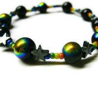 Rainbow Galaxy Bracelet, Cosmic Style,  Black Hematite Star Beads and Round Beads