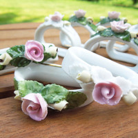 AK Kaiser porcelain rose napkin rings - Vintage gold-trim porcelain napkin rings with pink roses - Wedding decor (Set of 9)