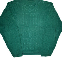 Vintage 90s Orvis Cable Knit Green Sweater Made in USA Mens Size Medium
