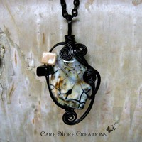 Wire Wrapped Pendant - White Crab Agate Necklace in Black Wire