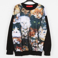 Cat Black Sweatshirts Sweats Sweater Pullover with Cats Graphic Print Women Men