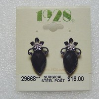 1928 Black Faceted Crystal Teardrop Earrings