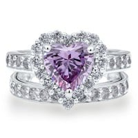 Sterling Silver 925 Heart Lavender Cubic Zirconia CZ 2pcs Ring Set - Nickel Free Engagement Wedding Ring Set
