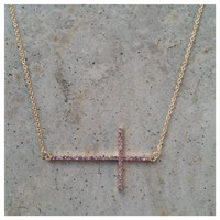 Dainty Pink Sideways Cross Necklace- Tanya Kara Jewelry