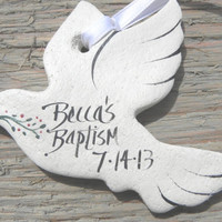 Personalized Baptism Favors Dove Salt Dough Ornaments Set of 12