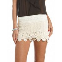 Scalloped Crochet Tiered Short: Charlotte Russe