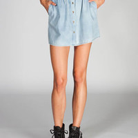 FULL TILT Womens Chambray Button Front Skirt 218836858 | Short Skirts | Tillys.com