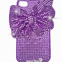 BLNG Purple Print Crystal & Rhinestone Bow Knot 3d Handmade Iphone 4/4s case/cover by Jersey Bling