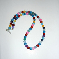 Multicolored Frosted Agate Beaded Necklace