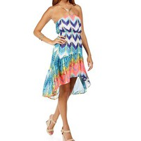 MultiNeon Strapless Hi Lo Dress