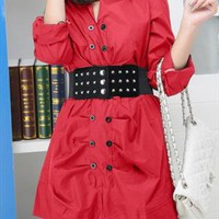 red long shirt blouse-dress elegant style sale 025X from GHL