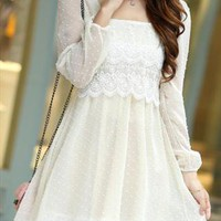 white summer long sleeve dress embroidered sale 002X from GHL