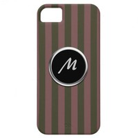 Pink and Brown Striped Monogram Case for iPhone 5 iPhone 5 Covers from Zazzle.com