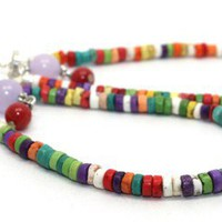 Long Multi Bright Colored Heishi Beads, Agates and Jade Hoop Earrings
