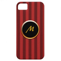 Two-Toned Red Stripe Monogram Cover for iPhone 5 iPhone 5 Cover from Zazzle.com