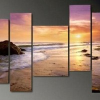 Amazon.com: Art Hand Painted Modern Abstract Oil Painting on Canvas Wall Art Deco Home Decoration Hawaii Beach Seashore Sunrise 5 Pic/set Stretched Ready to Hang: Home & Kitchen