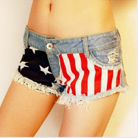Jeans Shorts with US Flag 002 from Toidea