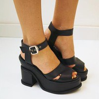 90s Black Space Age Platform Sandals from BOAW
