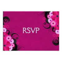 Hibiscus Fuchsia Elegant Custom RSVP Response Card from Zazzle.com