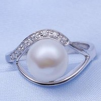 Rhodium Plated Fresh Water Pearl Ring - In My Heart