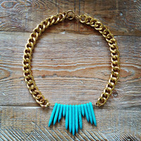 Turquoise Thunderbird Bib Necklace  by MesaBlue on Etsy