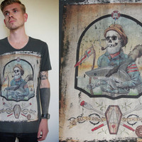 MENS Skull TShirt, Down With The Ship, Scooped Neck, S/M/L/XL