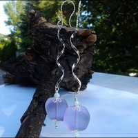Swirling Sterling Silver Purple Sea Glass and White Crystal Earrings