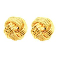 14k 8mm Small LoveKnot Earring - Jewelryweb