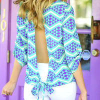 Cool Me Off Blouse: Aqua/Lavendar | Hope's
