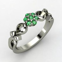 Corsage Ring - Sterling Silver Ring with Emerald | Gemvara