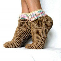 Crochet Pattern Sweater Socks Seamless Technique PDF 15 | Genevive - Crochet on ArtFire