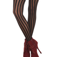 Black Shadow Stripe Tights | Hot Topic