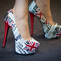 Bumper Elle13 Union Jack Newspaper Print Platform Pump - Shoes 4 U Las Vegas