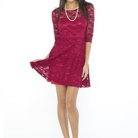 Hummingbird Lace Skater Dress In Wine Red