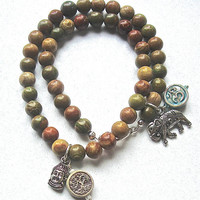 Double Wrap Rainbow Agate Bracelet with Silver Buddha, Silver Elephant, Ohm charm and high fired clay Tree of Life charm