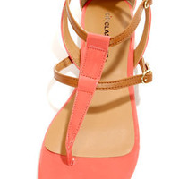 City Classified Rovia Salmon & Light Tan T Strap Thong Sandals