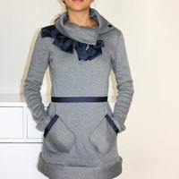 Sweatshirt Dress Tunic with Pleated Ribbon Pockets by IslaNewYork