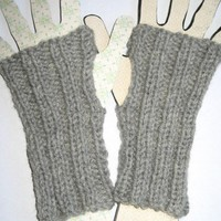 Gray Pure Wool Short Open Fingered Gloves Wristlets Wristers Knitted
