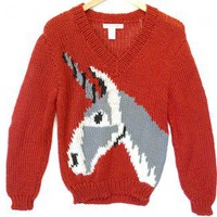 Vintage 80s Unicorn Chunky Knit Tacky Ugly Sweater Women's Size P (Fits Small/Medium) S/M $40 - The Ugly Sweater Shop