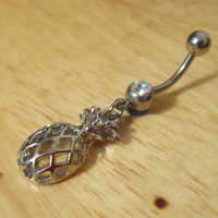 Belly Button Ring  Silver Pineapple Belly Button by ChelseaJewels