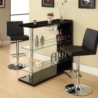 Amazon.com: Bar Table with Two Glass Shelves in Gloss Black Finish: Home & Kitchen