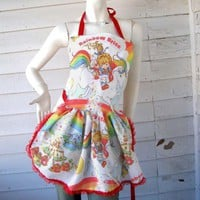 Rainbow Brite Apron - retro ruffle | PoppysGardenGate - Accessories on ArtFire