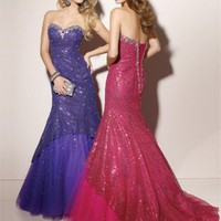 Mermaid Floor Length Sweatheart Low Back Rose Red Or Purple Ed1029 Sequins Trailing Evening Dress EVD086