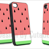 Watermelon Art Fruit - Print Hard Case iPhone 4/4s or iPhone 5 Case - Black or White Bumper (Option)