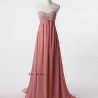Sweetheart sleeveless floor-length chiffon with crystal beads pleated bridemaid /homecoming dresses