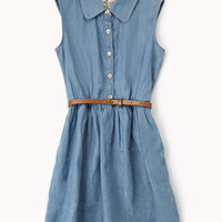 Sleeveless Chambray Shirt Dress